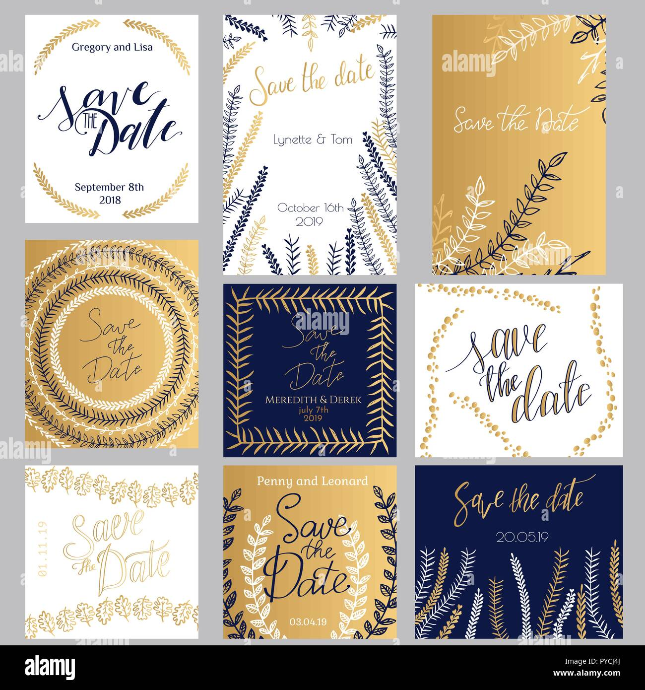Golden Dark Blue And White Invitation Templates Collection Isolated