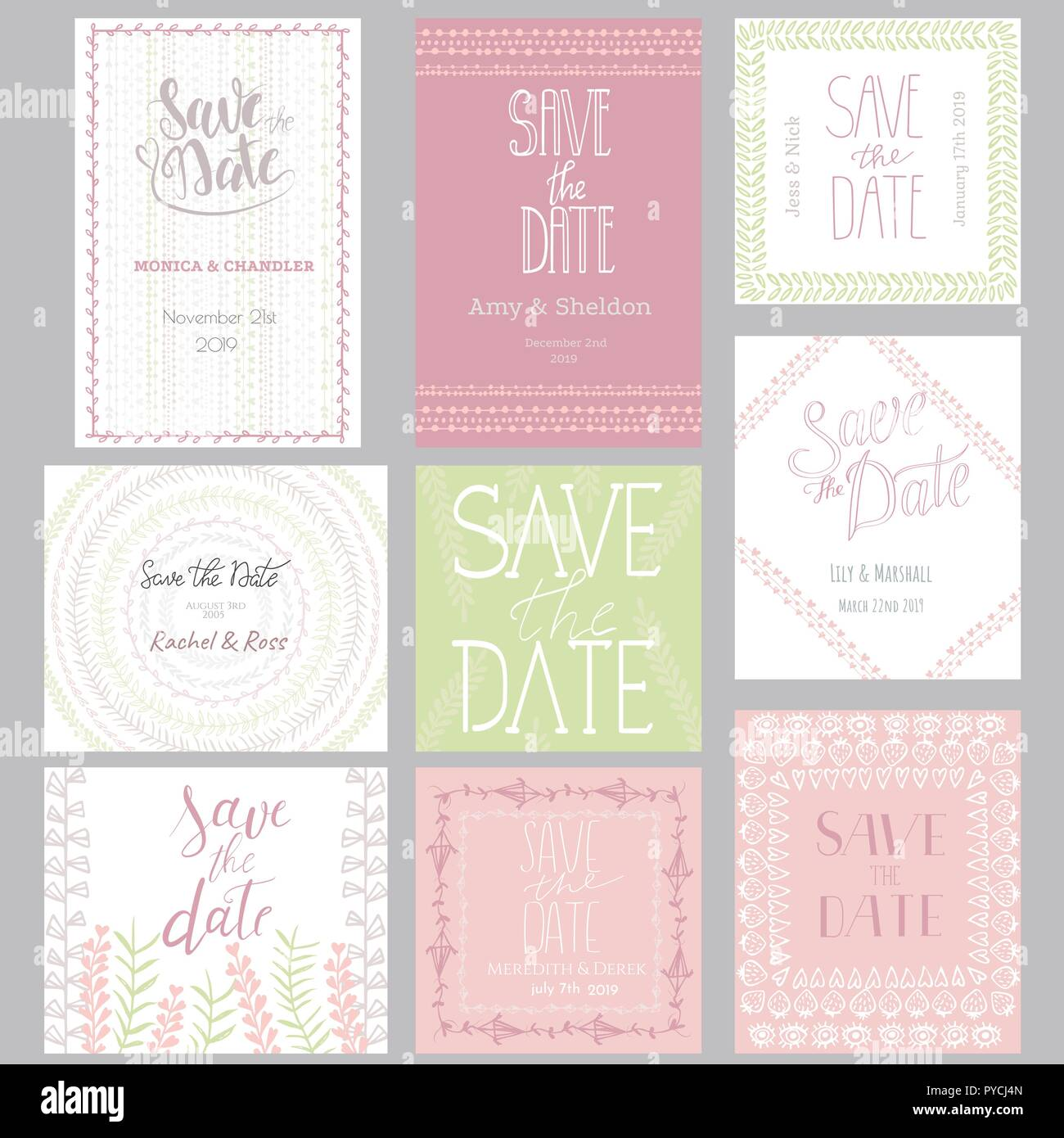 Pastel Invitation Templates Collection Isolated On Background Save