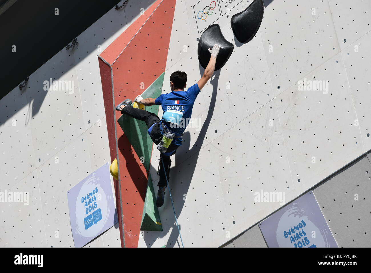 bronze medallist Sam Avezou from France at Youth Olympic Games 2018 Buenos Aires sport climbing contest - Stock Image