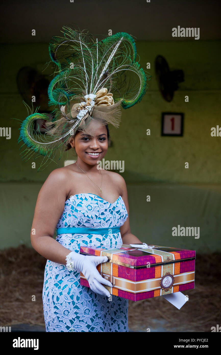 Race day fashion at Champ de Mars Racecourse in Port Louis, Mauritius. - Stock Image