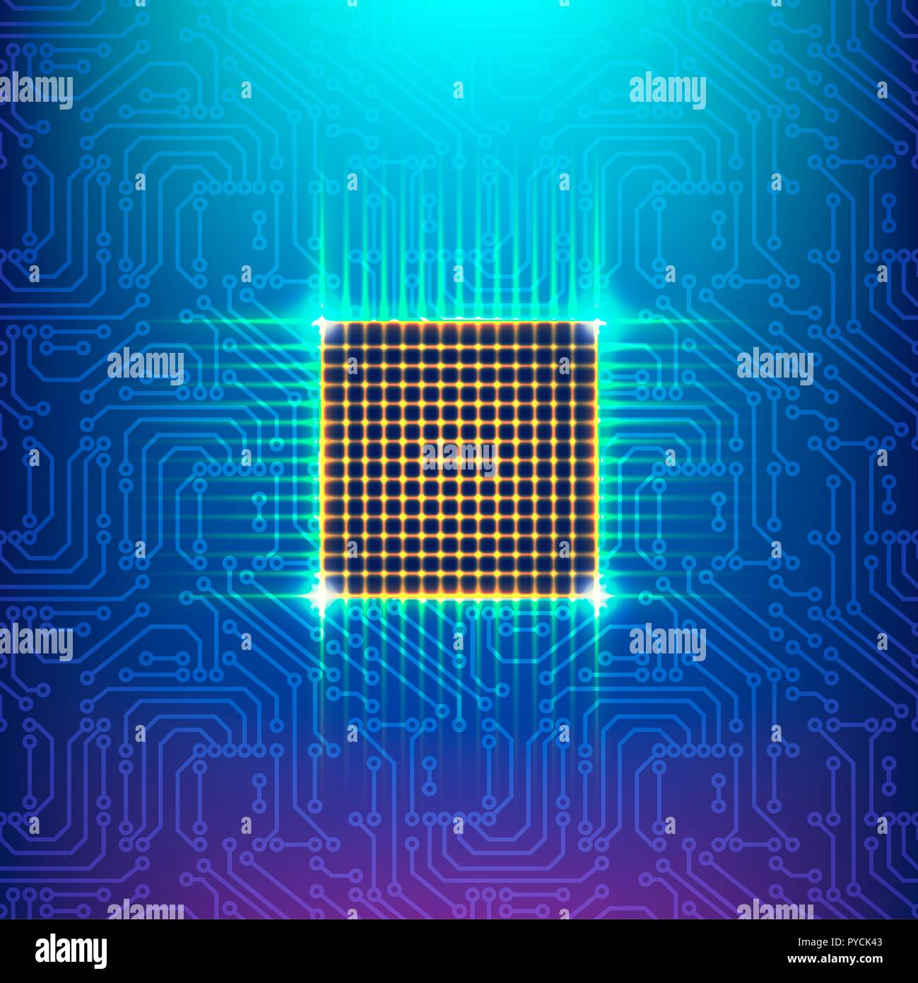 Computer chip, illustration. - Stock Image