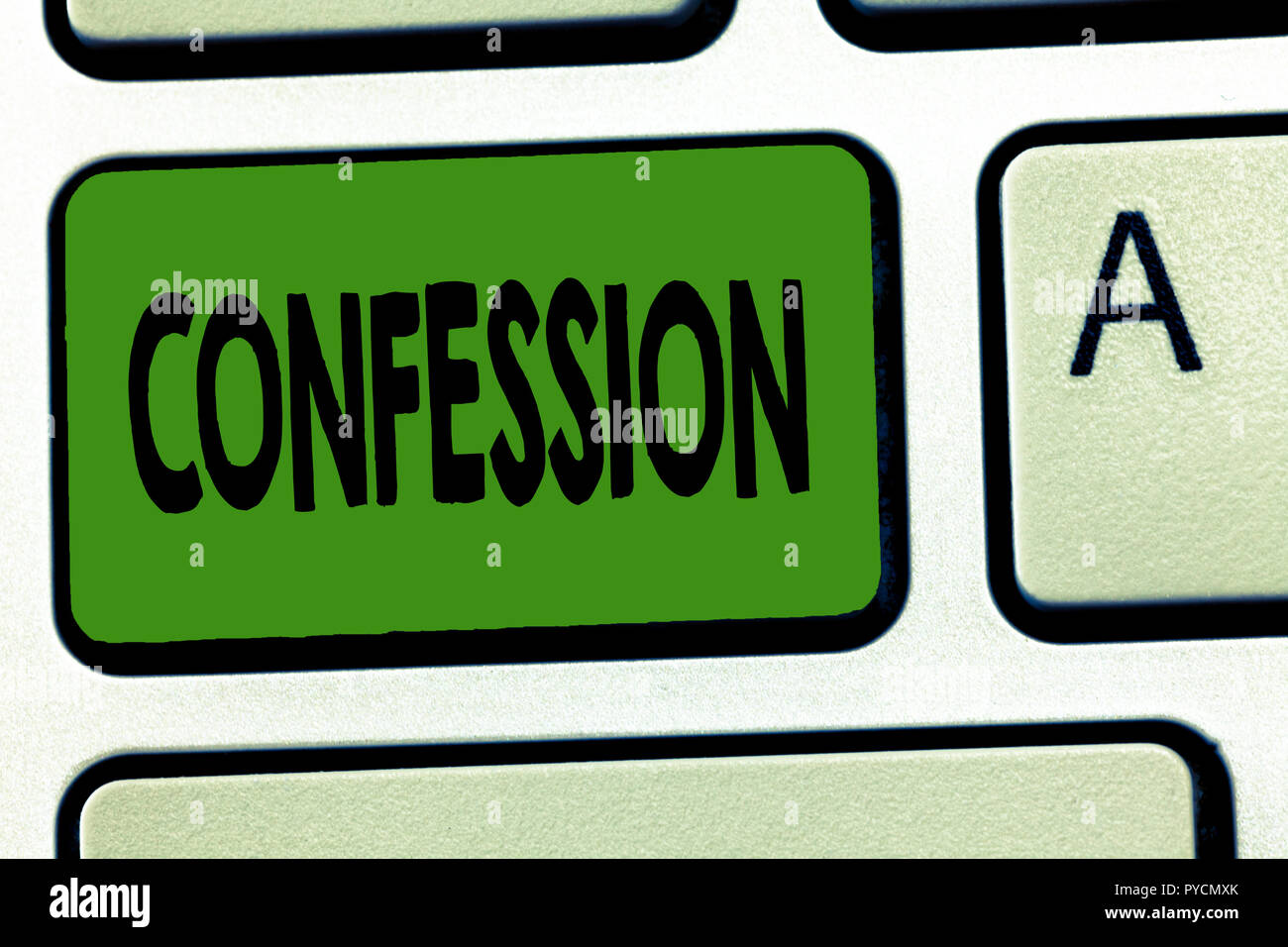Handwriting text Confession. Concept meaning Statement admitting one is guilty of crime Religious doctrine. Stock Photo