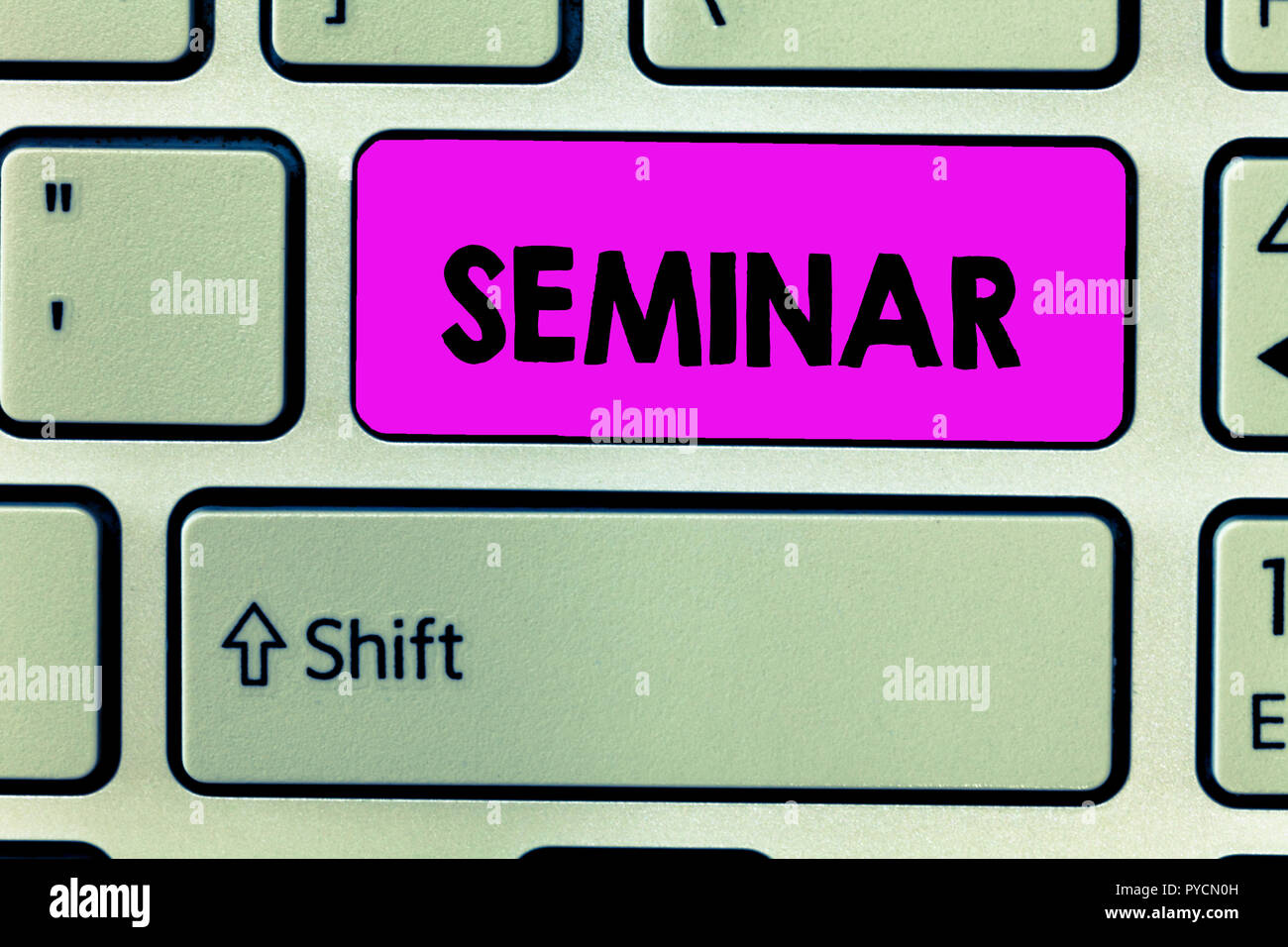 Handwriting text Seminar. Concept meaning conference or other meeting for discussion or training Event. - Stock Image