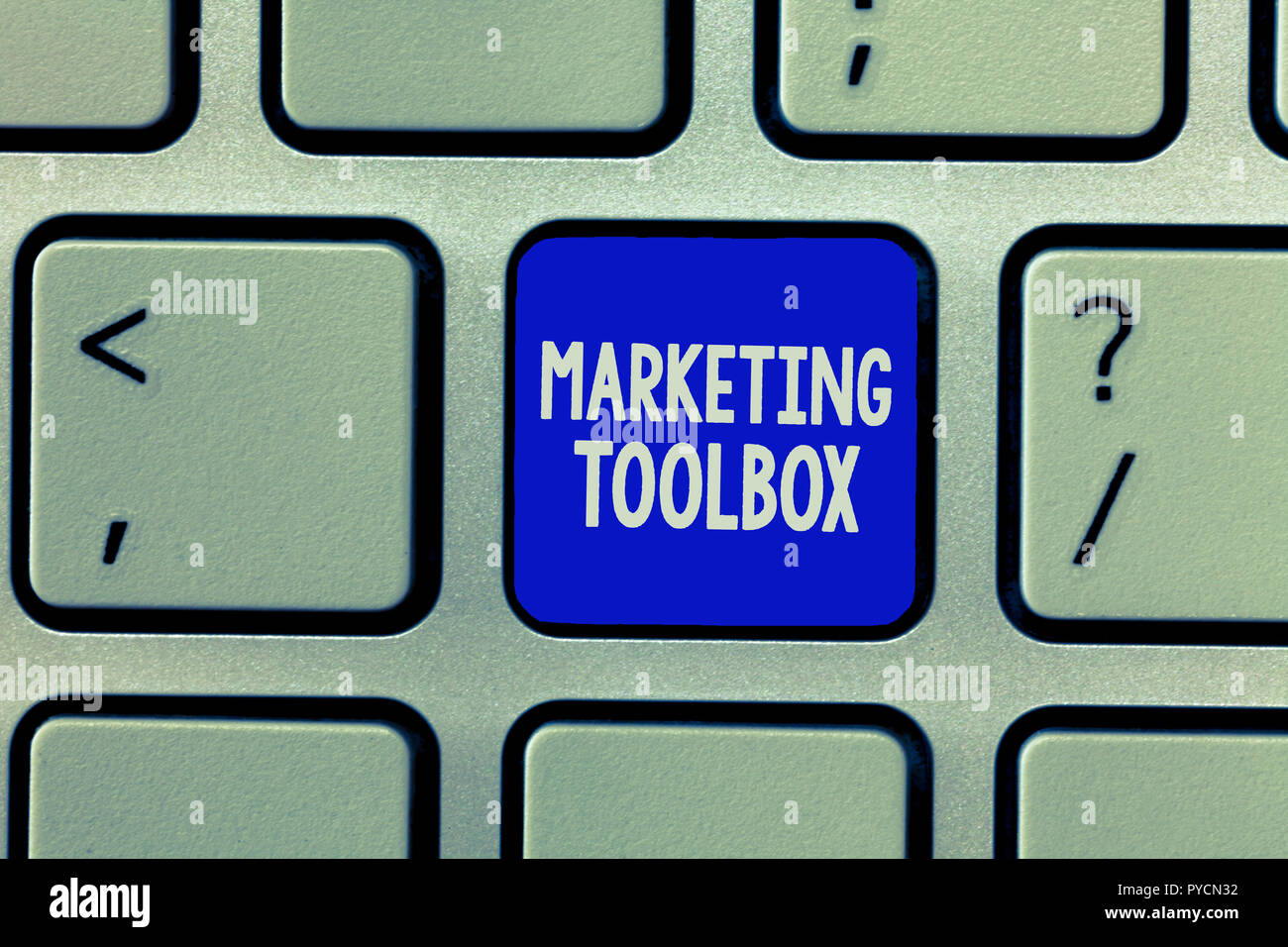 Handwriting text Marketing Toolbox. Concept meaning Means in promoting a product or services Automation. - Stock Image