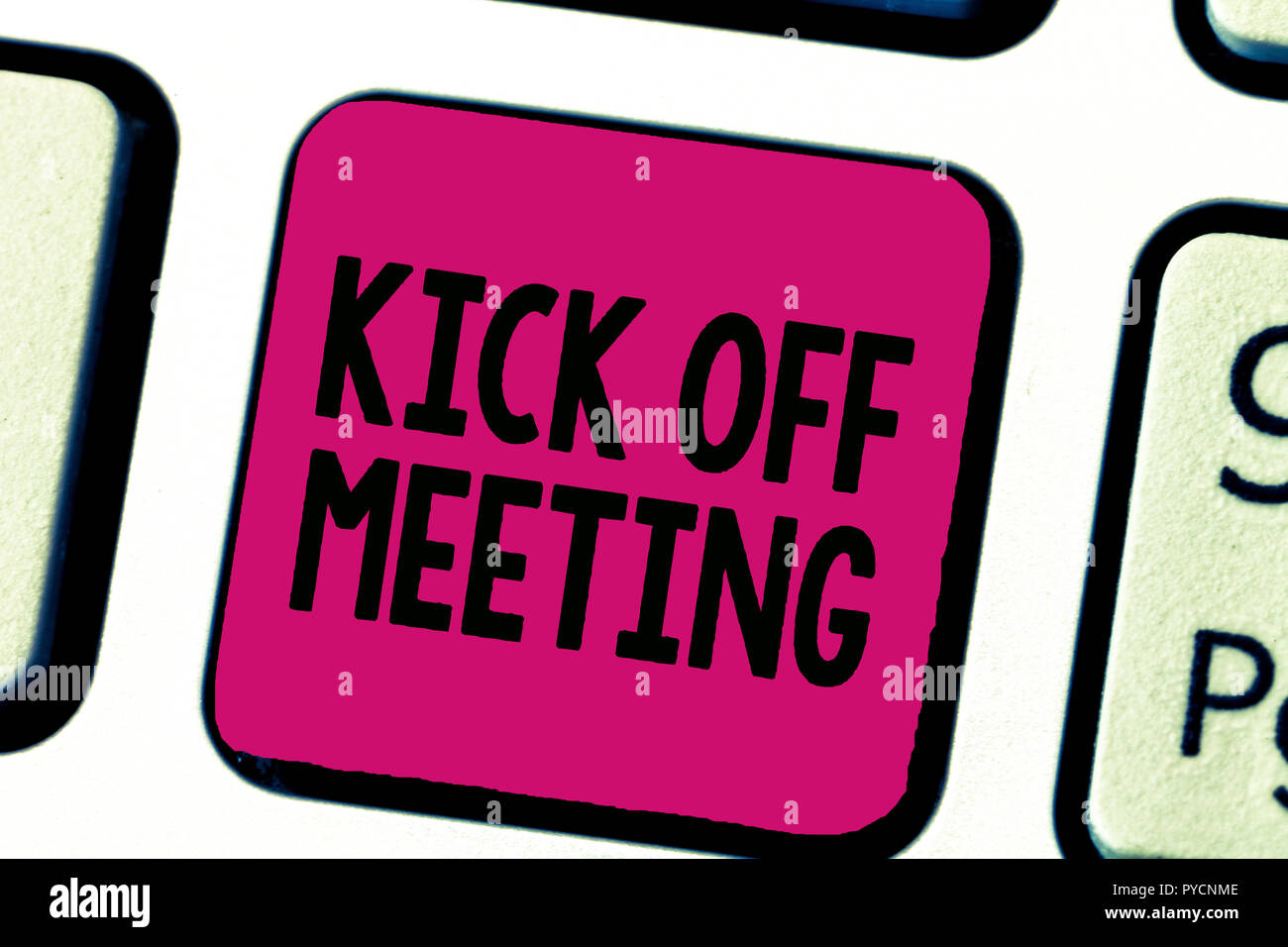 Writing note showing Kick Off Meeting. Business photo showcasing getting fired from your team private talking about company. - Stock Image