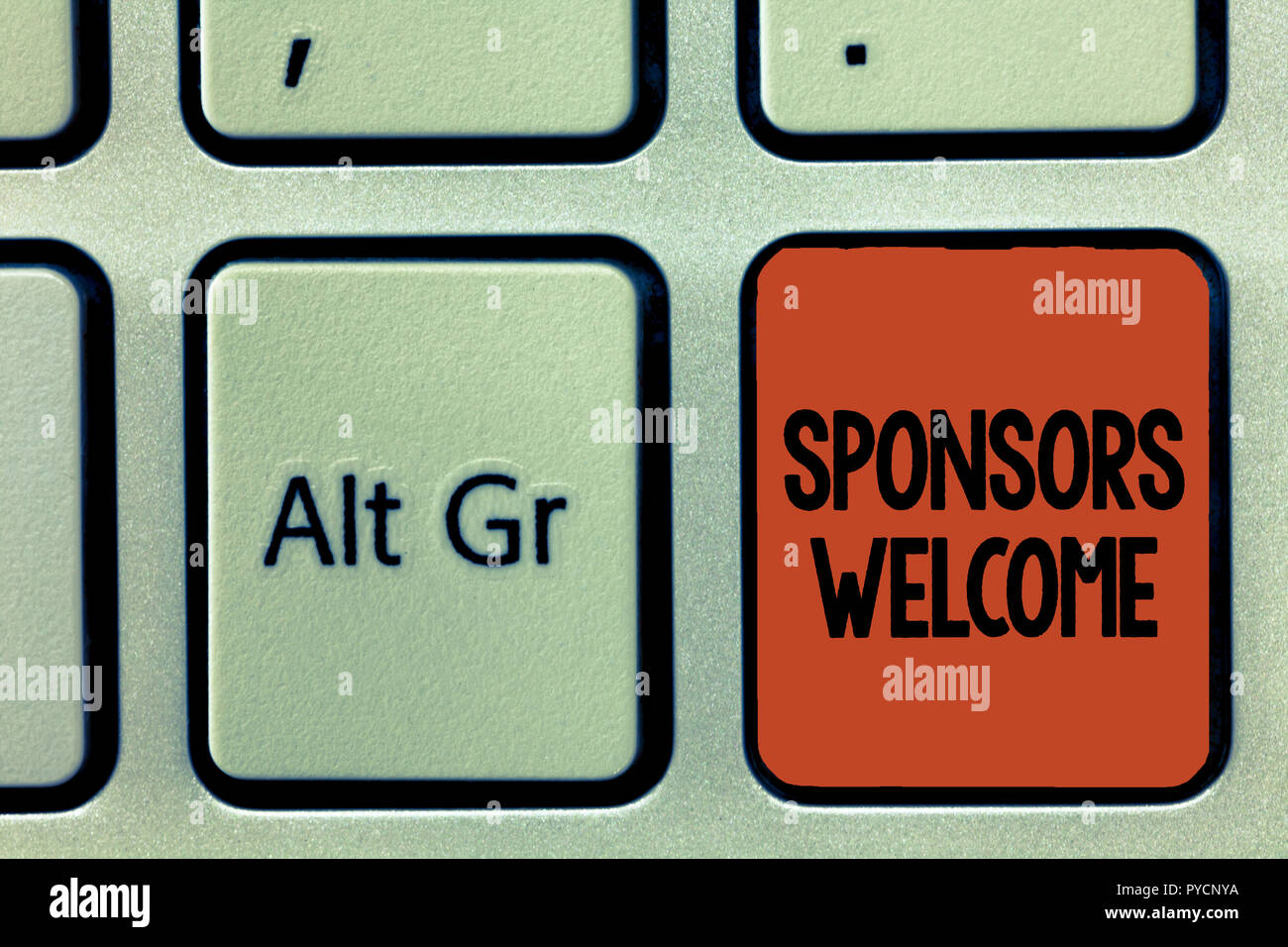 Word writing text Sponsors Welcome. Business concept for announcing that you accept investing in your company. - Stock Image