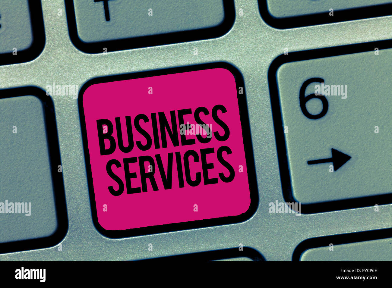 Writing note showing Business Services. Business photo showcasing Provides intangible products Bookkeeping IT Accounting. - Stock Image