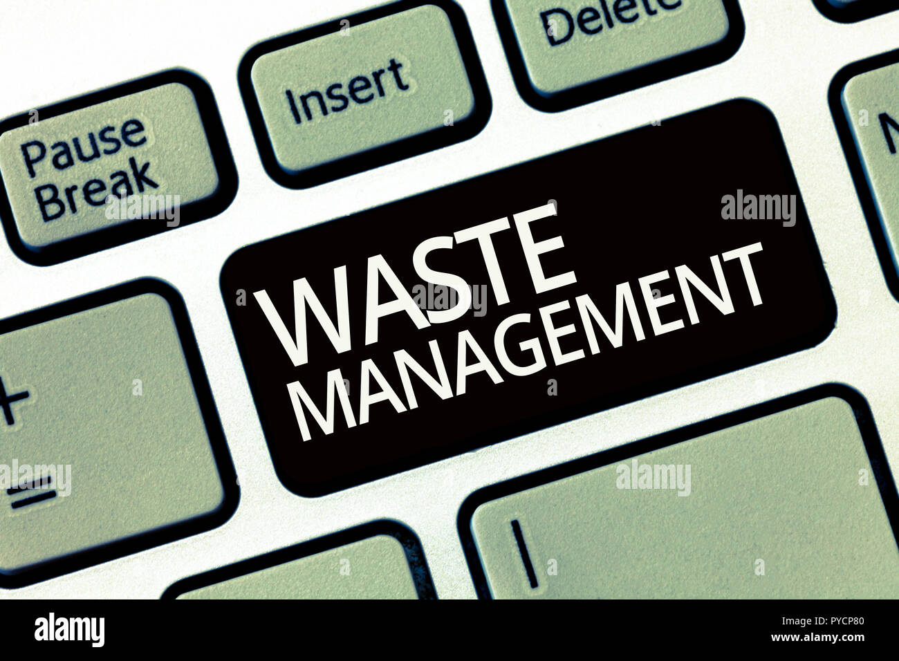 Word writing text Waste Management. Business concept for actions required manage rubbish inception to final disposal. - Stock Image