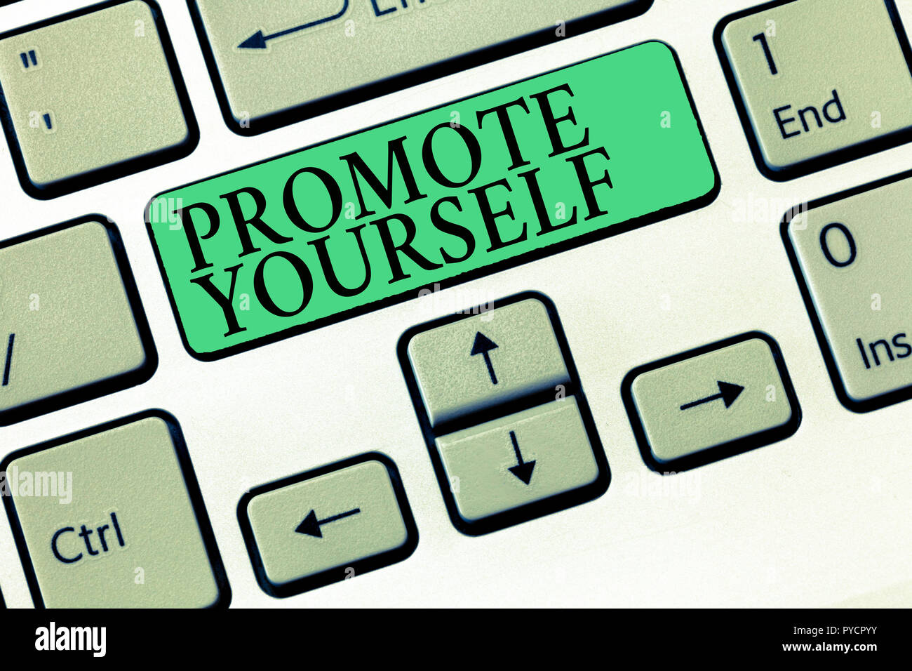 Text sign showing Promote Yourself. Conceptual photo market and introduce to others Improvement Encourage. - Stock Image
