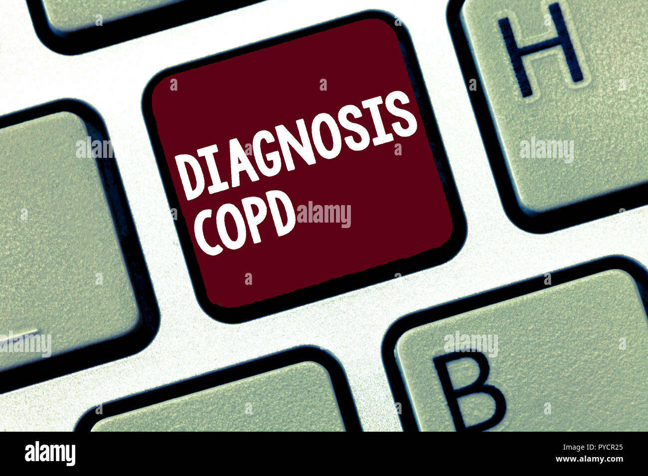 Handwriting text Diagnosis Copd. Concept meaning obstruction of lung airflow that hinders with breathing. - Stock Image