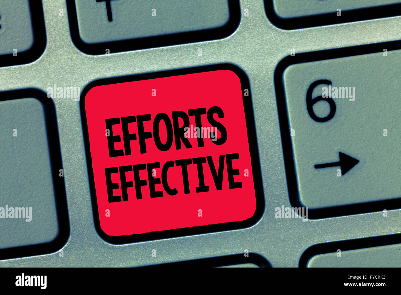 Conceptual hand writing showing Efforts Effective. Business photo text Produces the results as per desired Goal Target Achieve. - Stock Image