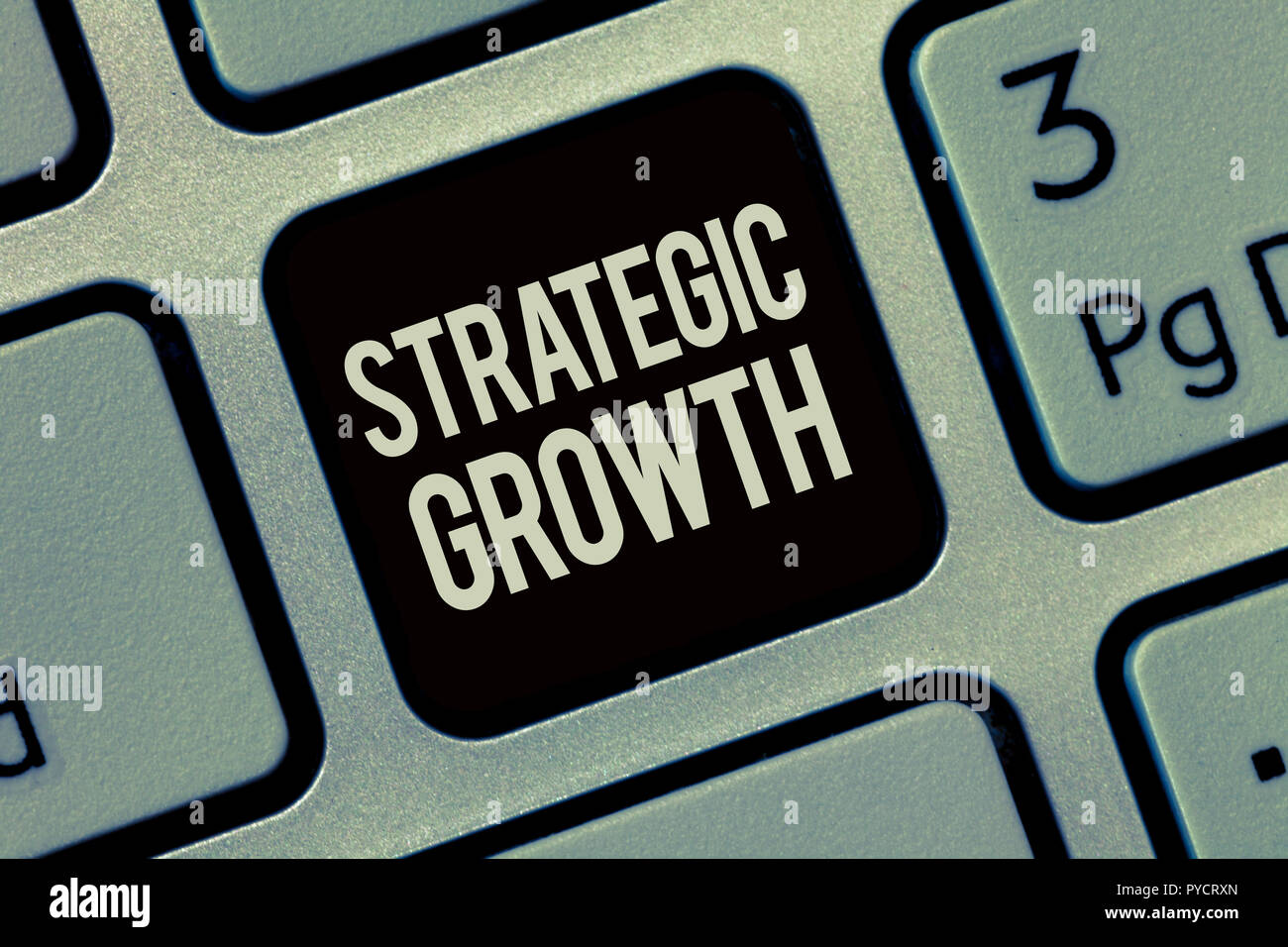 Writing note showing Strategic Growth. Business photo showcasing create plan or schedule to increase stocks or improvement. - Stock Image