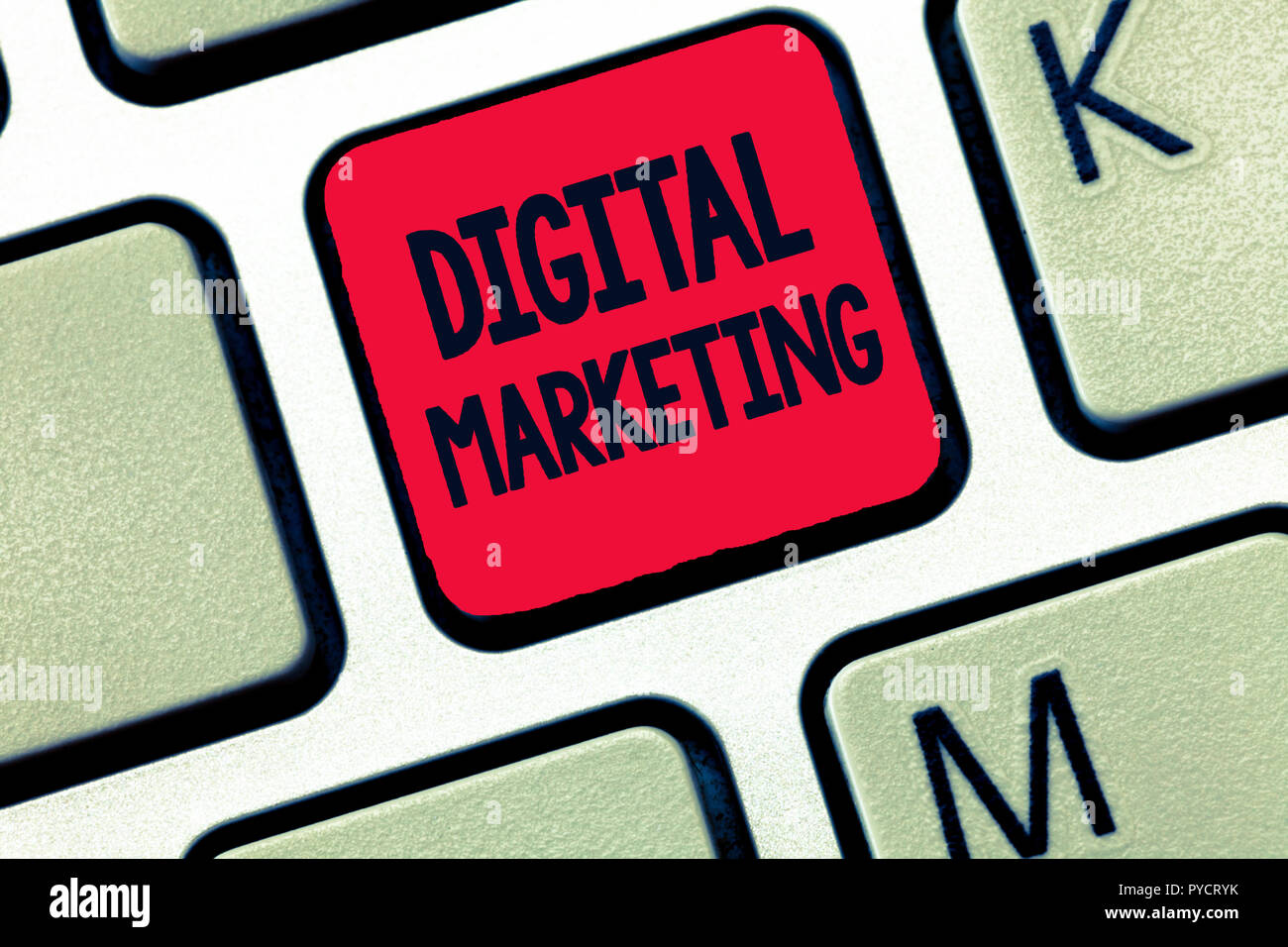 Conceptual hand writing showing Digital Marketing. Business photo text Promotion of products or brands thru electronic media. - Stock Image