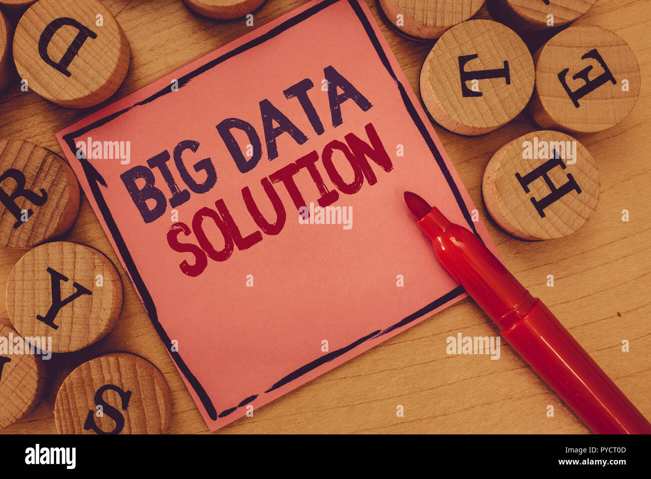 Conceptual hand writing showing Big Data Solution. Business photo text Extracting value from huge volumes of a variety of facts. - Stock Image
