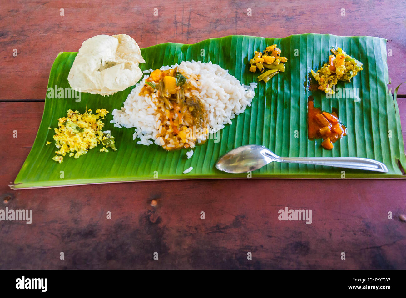 Kerala Is Known For Its Traditional Banquet Or Sadya A Pure Vegetarian Meal Served With Boiled Rice And A Host Of Side Dishes Served Especially Durin Stock Photo Alamy