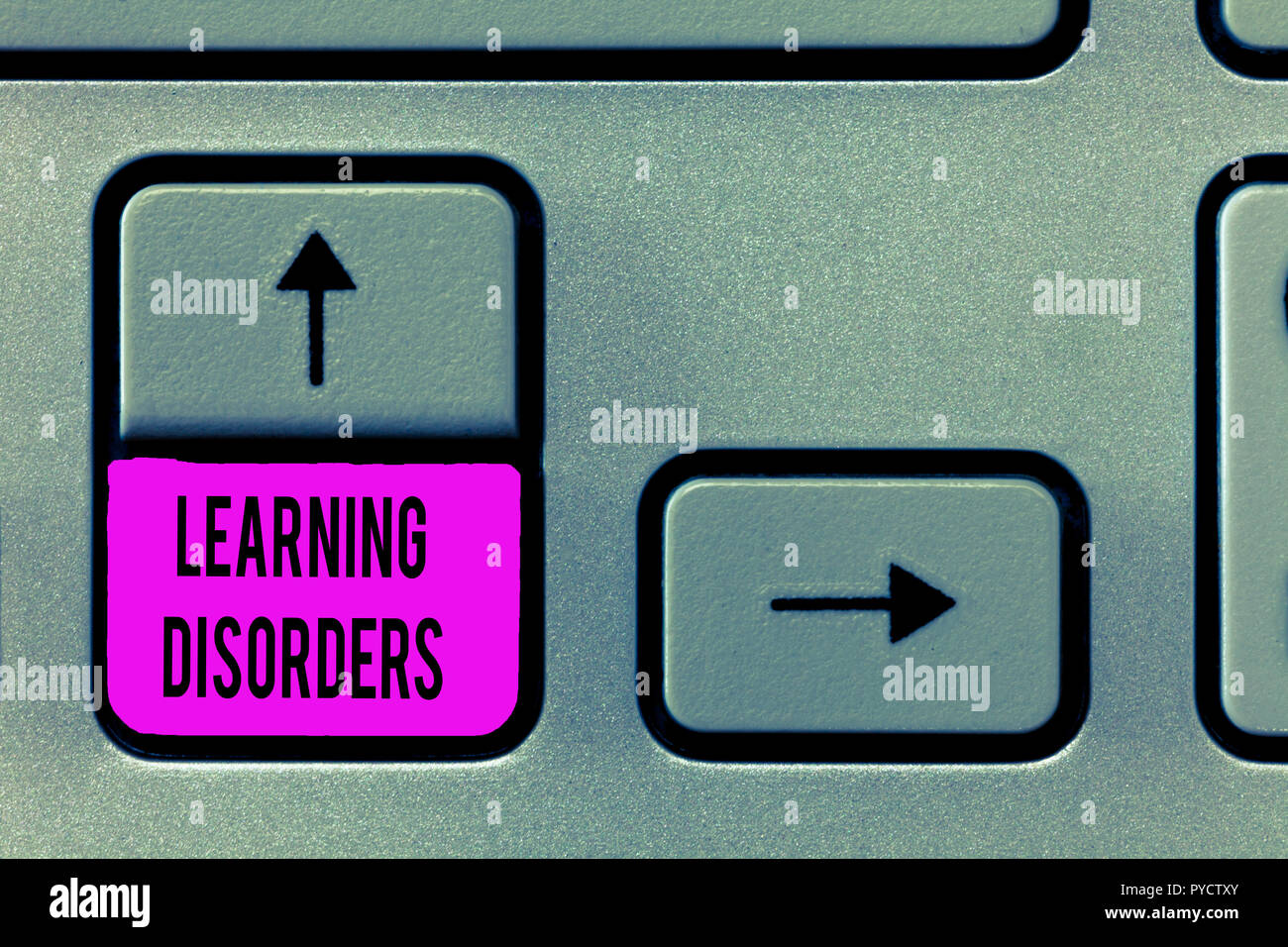 Writing note showing Learning Disorders. Business photo showcasing inadequate development of specific academic skills. - Stock Image