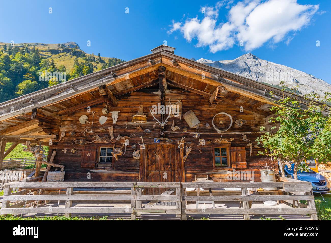 Alp in Engtal or Narrow Valley, Maple Valley, Grosser Ahornboden, Great Maple Ground, Eng, Hinterriss, Karwendel, the Alps, Tyrol, Austria - Stock Image