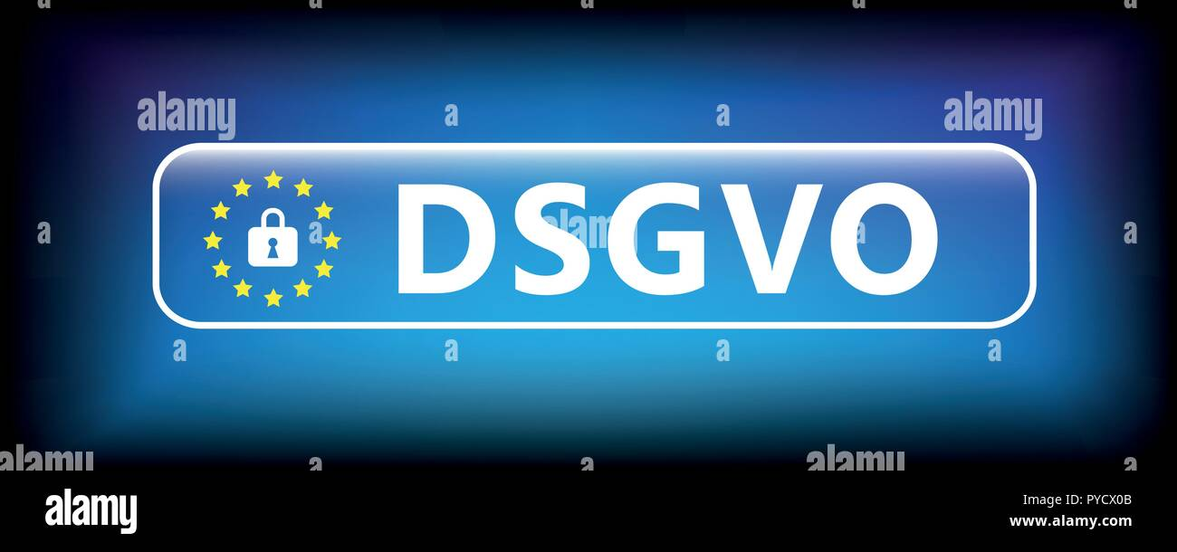 EU DSGVO blue sign button with lock vector illustration - Stock Vector