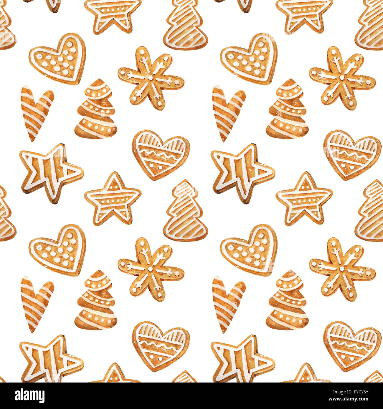 christmas gingerbread seamless pattern ginger cookies on blue background watercolor illustration cute xmas background for wallpaper gift paper PYCY6Y