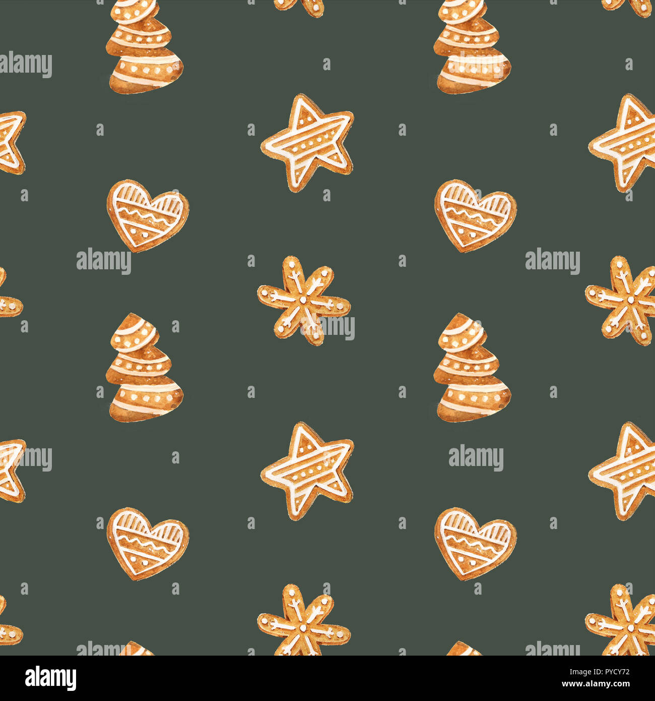 christmas gingerbread seamless pattern ginger cookies on blue background watercolor illustration cute xmas background for wallpaper gift paper PYCY72