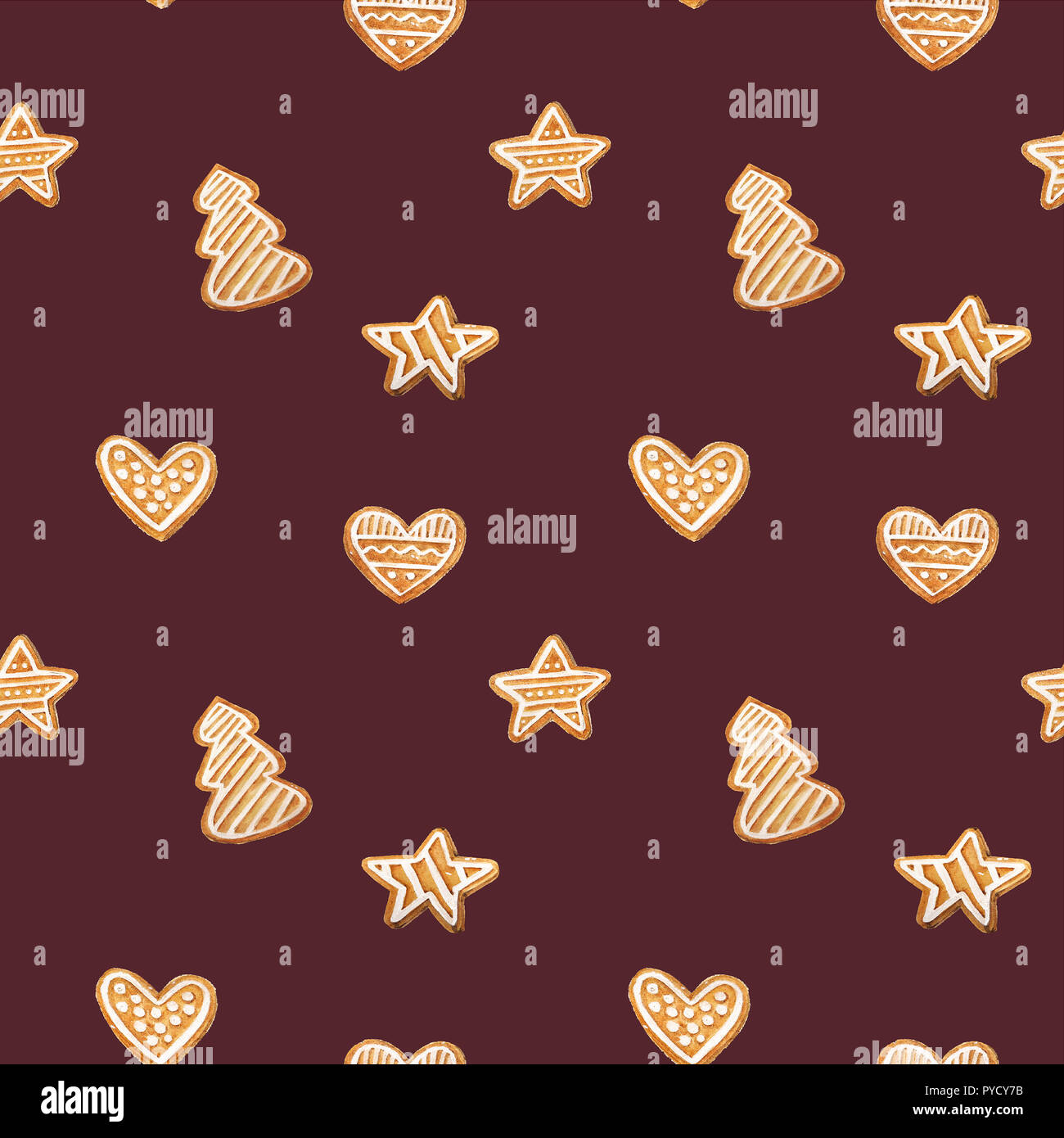 christmas gingerbread seamless pattern ginger cookies on blue background watercolor illustration cute xmas background for wallpaper gift paper PYCY7B