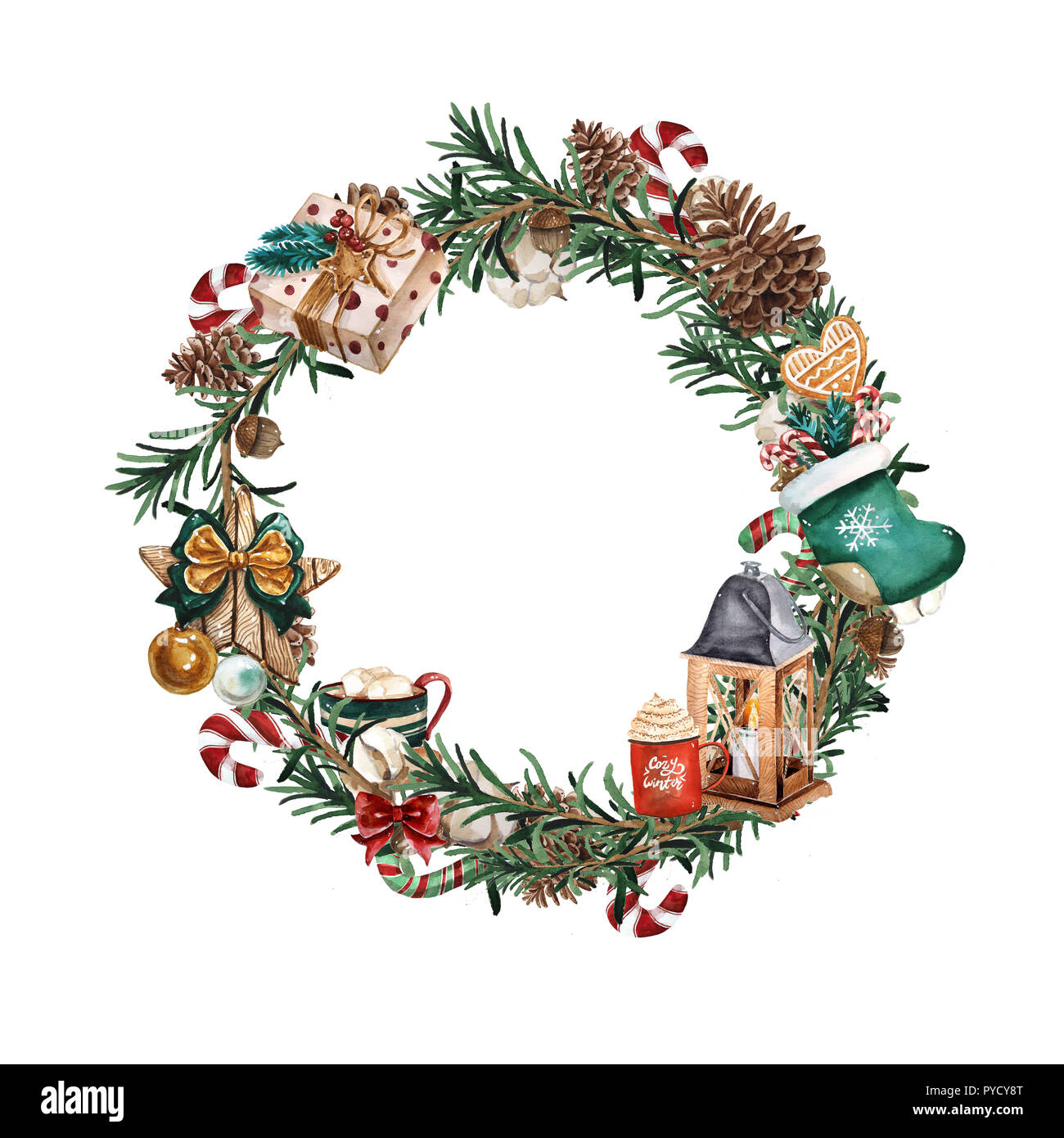 Wreath with pine branches and red berries, cotton and pine cones ...