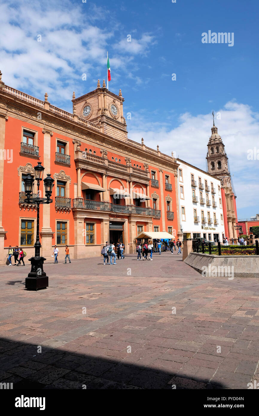 The Municipal Palace or city hall in Leon, Guanajuato, Mexico; seat of local government. - Stock Image