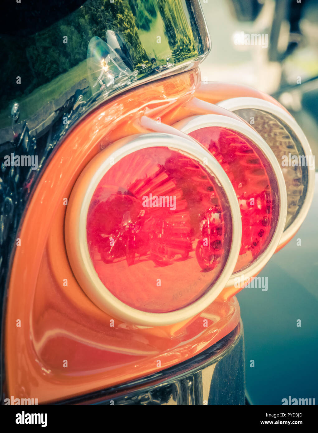back view tail light of a customized motorcycle, switzerland - Stock Image