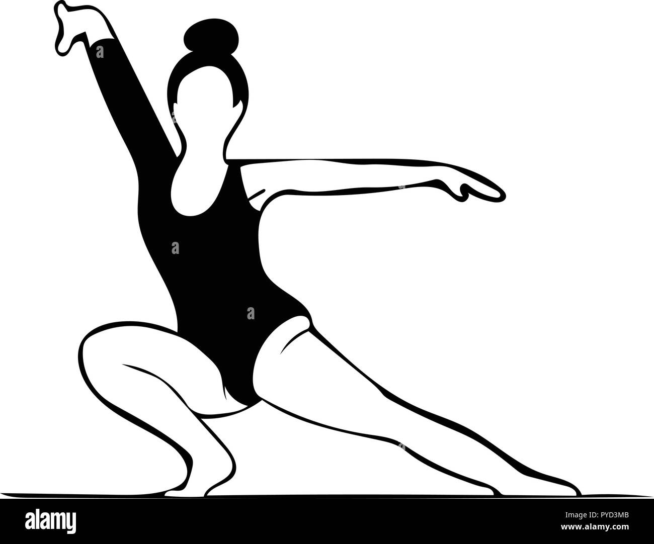 Monochrome vector graphic of gymnast in pose with leg extended to size. - Stock Vector