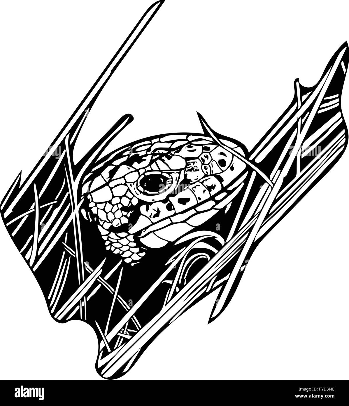 Black and white vector graphic of female Sand lizard peeking out from grass revealing only its head - Stock Vector
