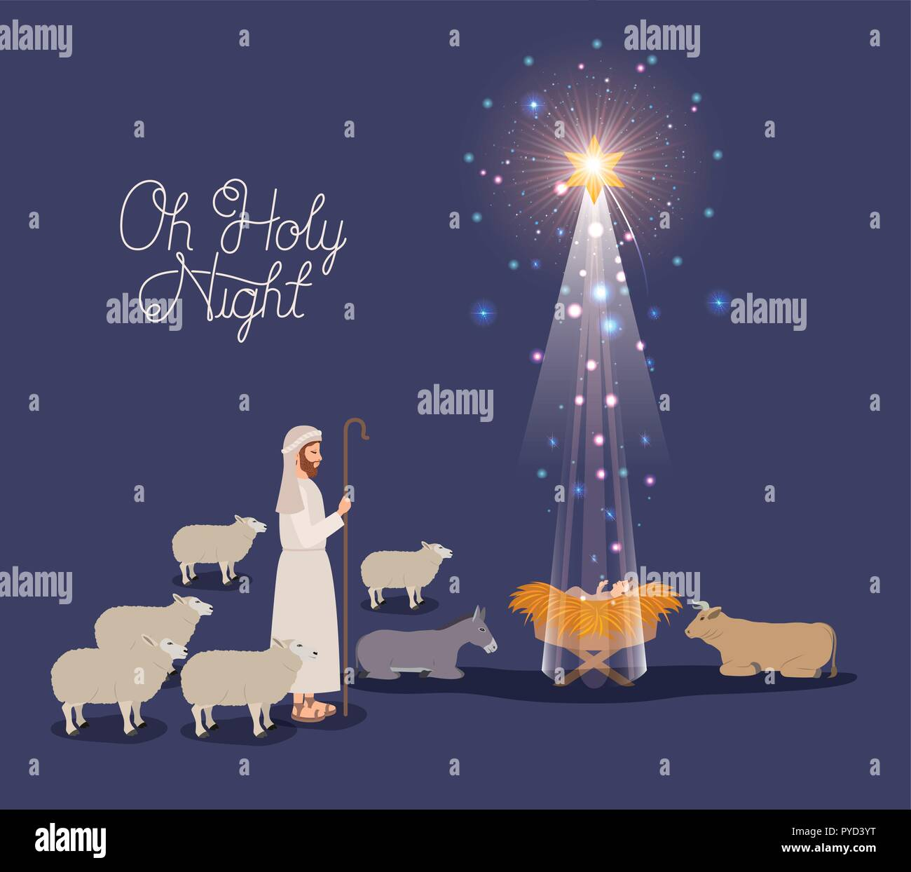 Merry Christmas Jesus.Merry Christmas Card With Jesus Baby And Sheeper Stock