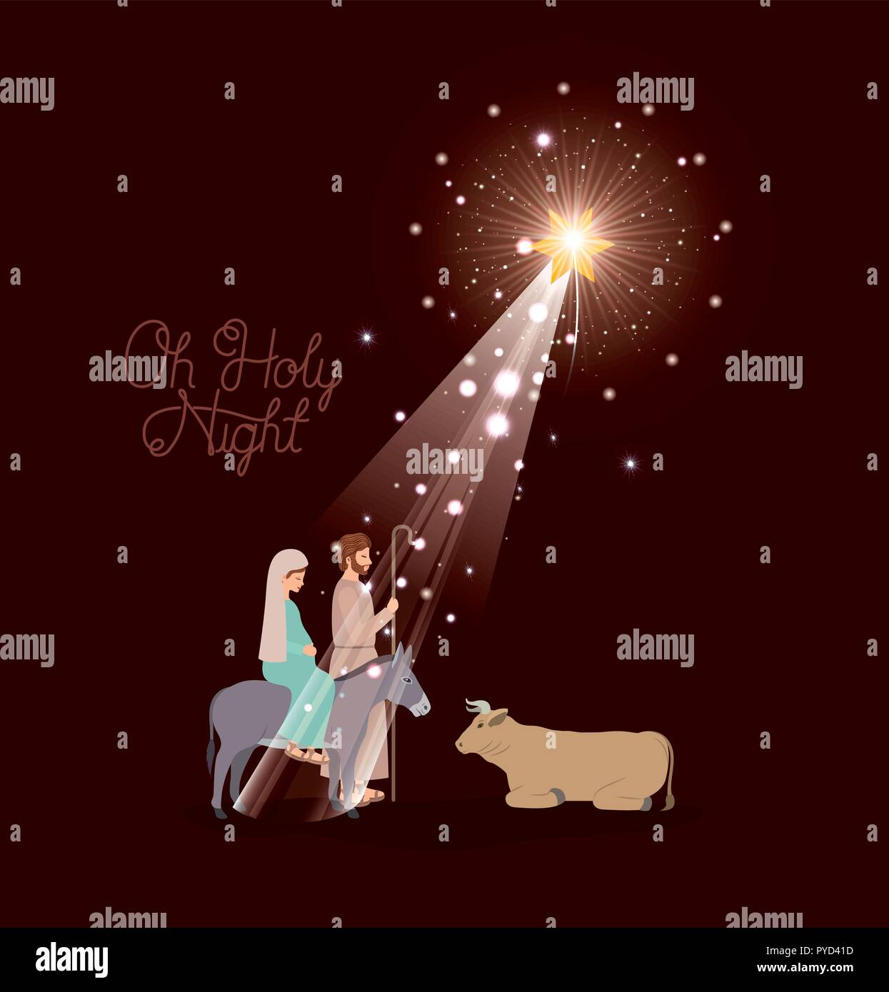 merry christmas card with holy family in mule Stock Vector