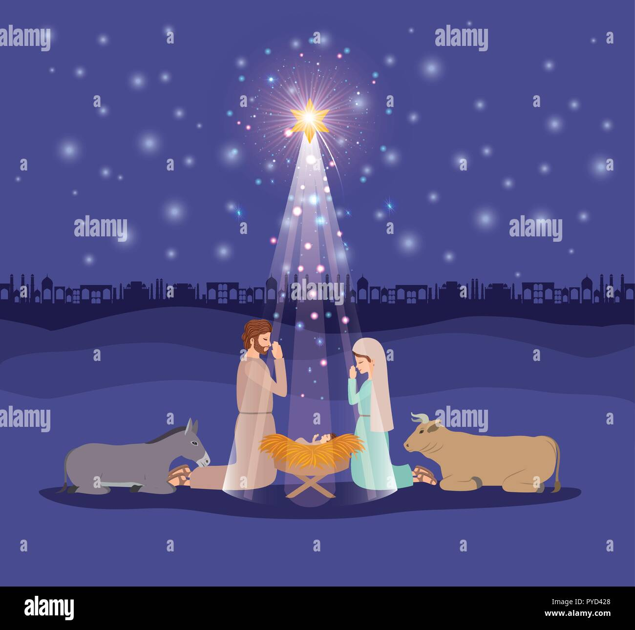 christmas card with holy family and animals Stock Vector Art ...
