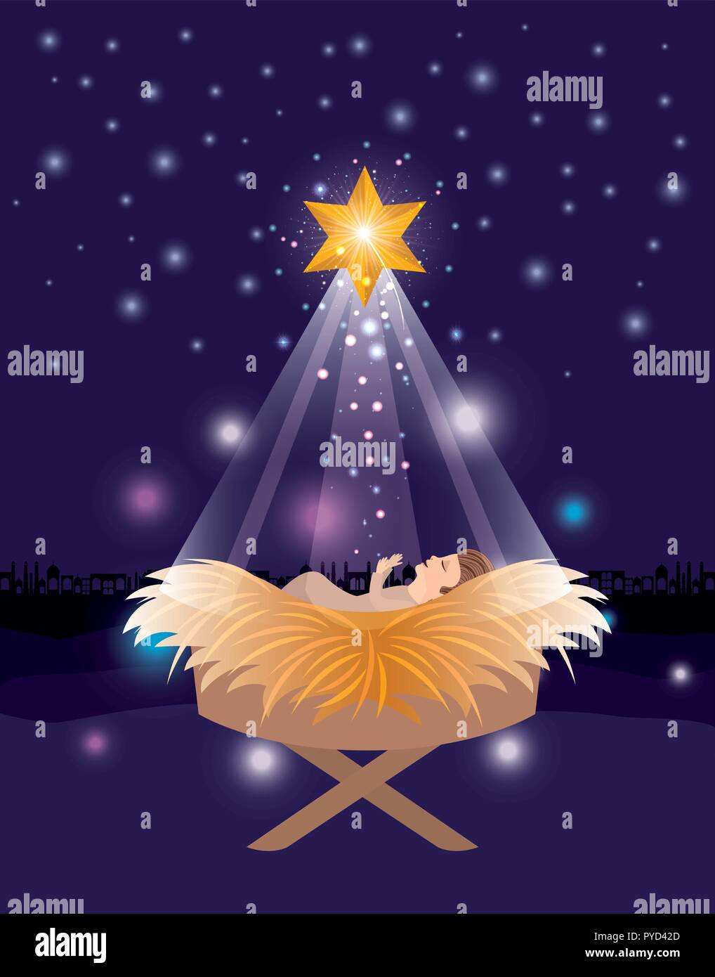 merry christmas card with jesus baby Stock Vector Art & Illustration ...