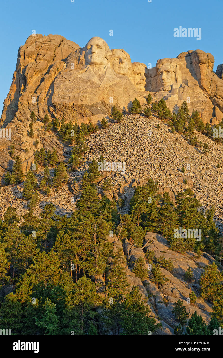 Mount Rushmore sculptures of Four United States Presidents - Stock Image