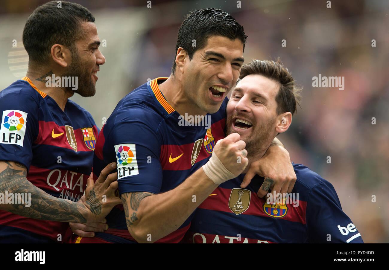 Luis Suarez and Leo Messi celebrate a goal at camp nou stadium in Barcelona. - Stock Image