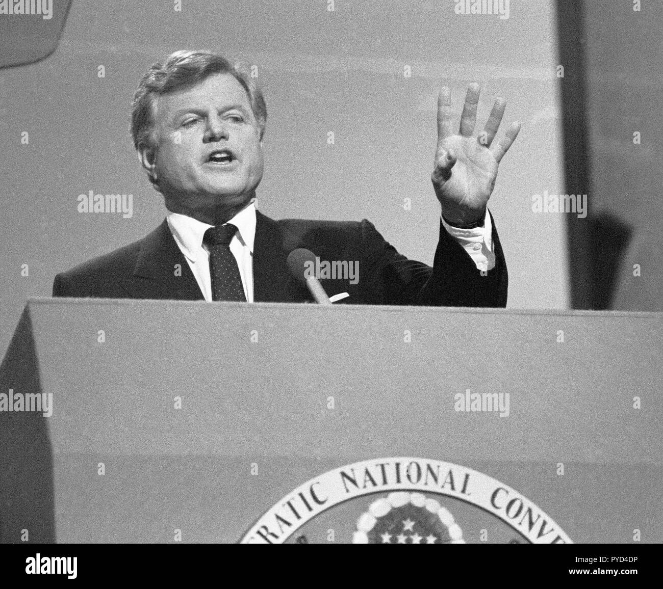 Massachusetts, US Senator Edward Kennedy speaking at the 1984 Democratic Party Convention at Moscone Center in San Francisco, California - Stock Image