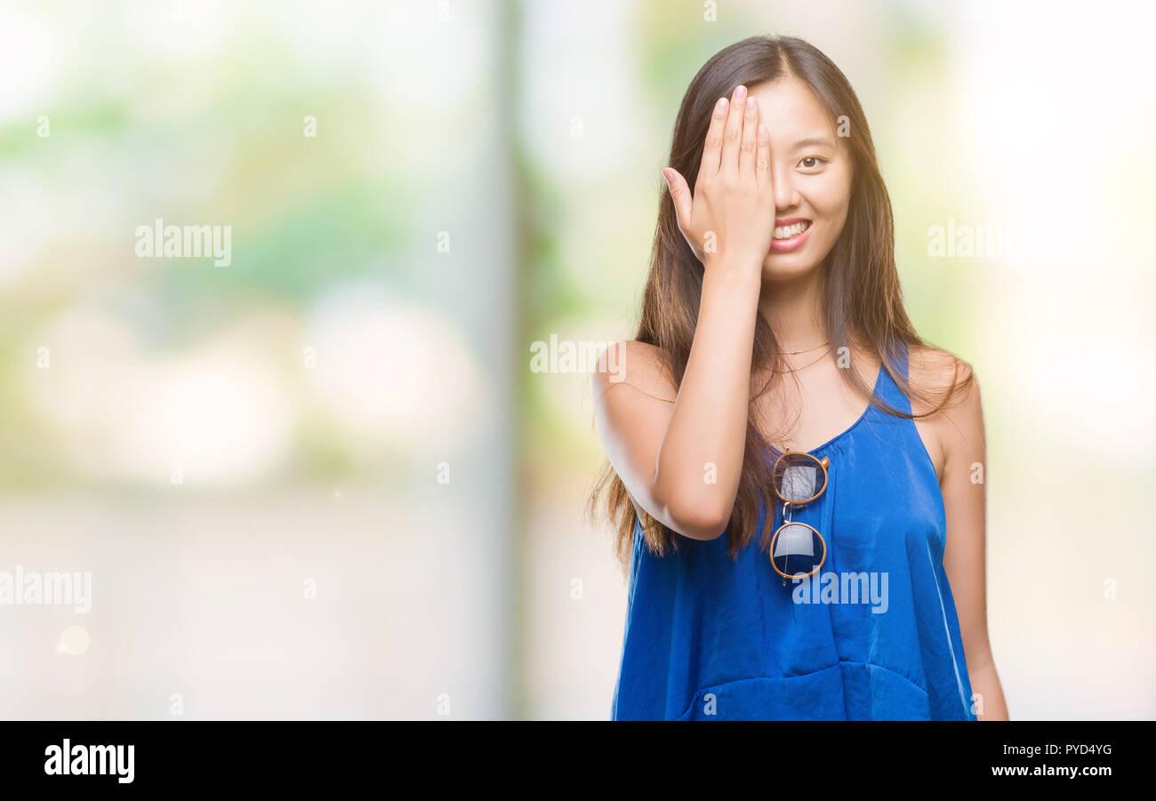 Asian girl one eye 3d pics photo