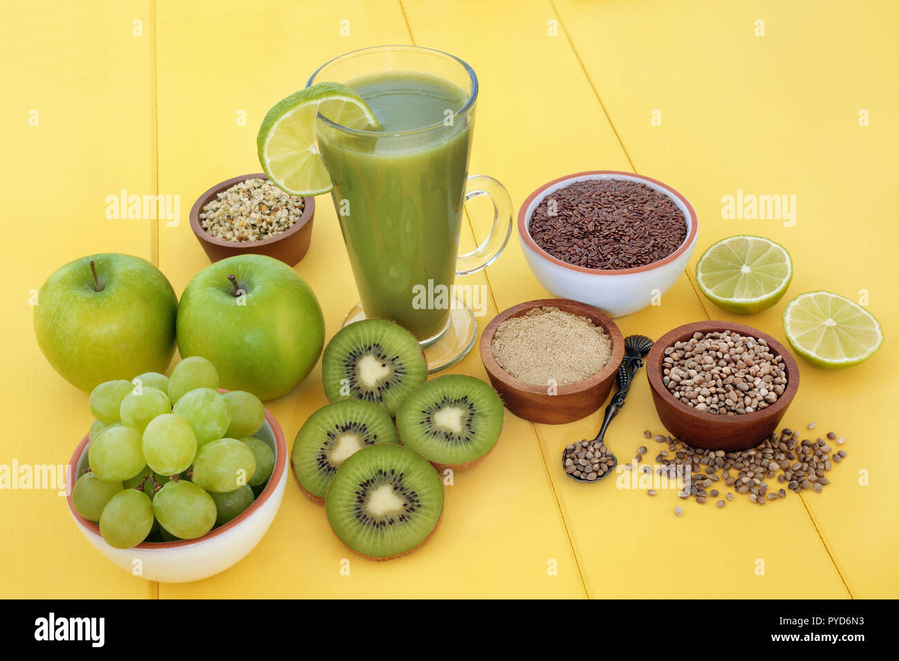 Healthy Fruit Juice Smoothie Drink With Hemp Powder Flax Chia And Hemp Seed With Fresh Fruit On Yellow Wood Background Stock Photo Alamy