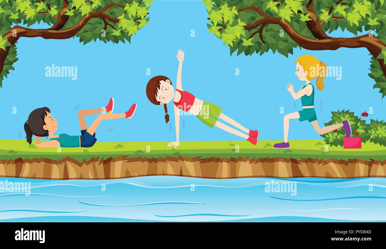 Young woman exercise in nature illustration - Stock Vector