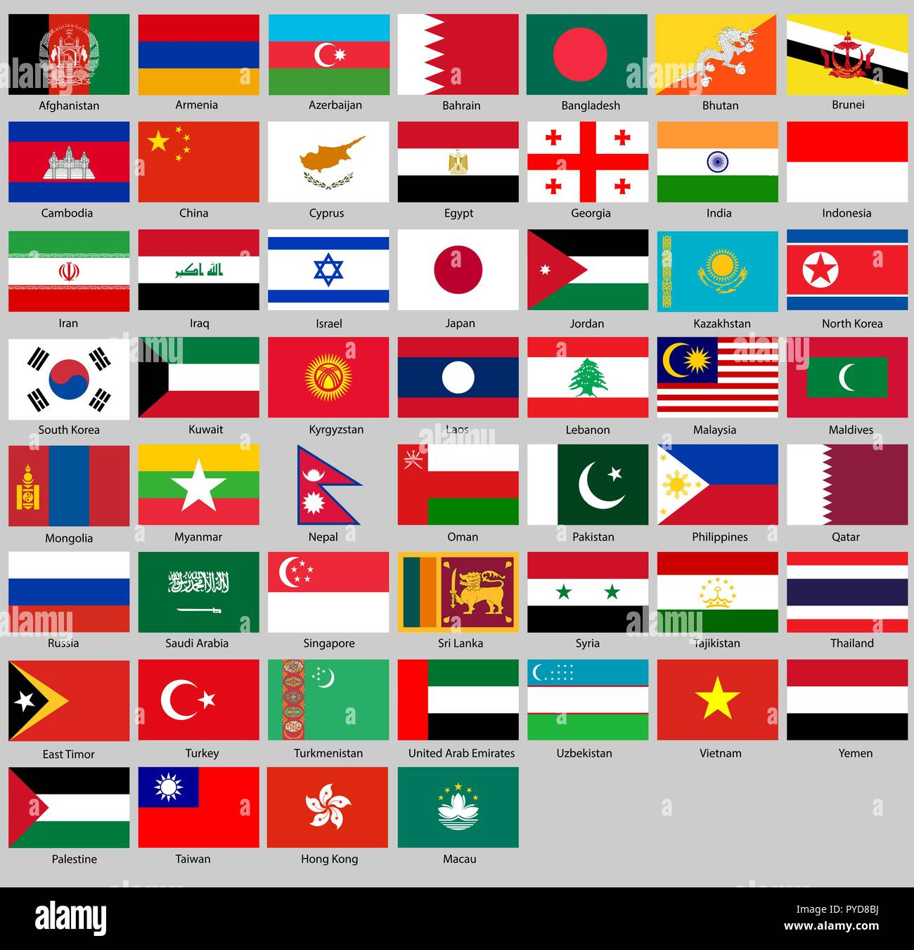 Vector illustration of different countries flags set. All flags Asia - Stock Vector