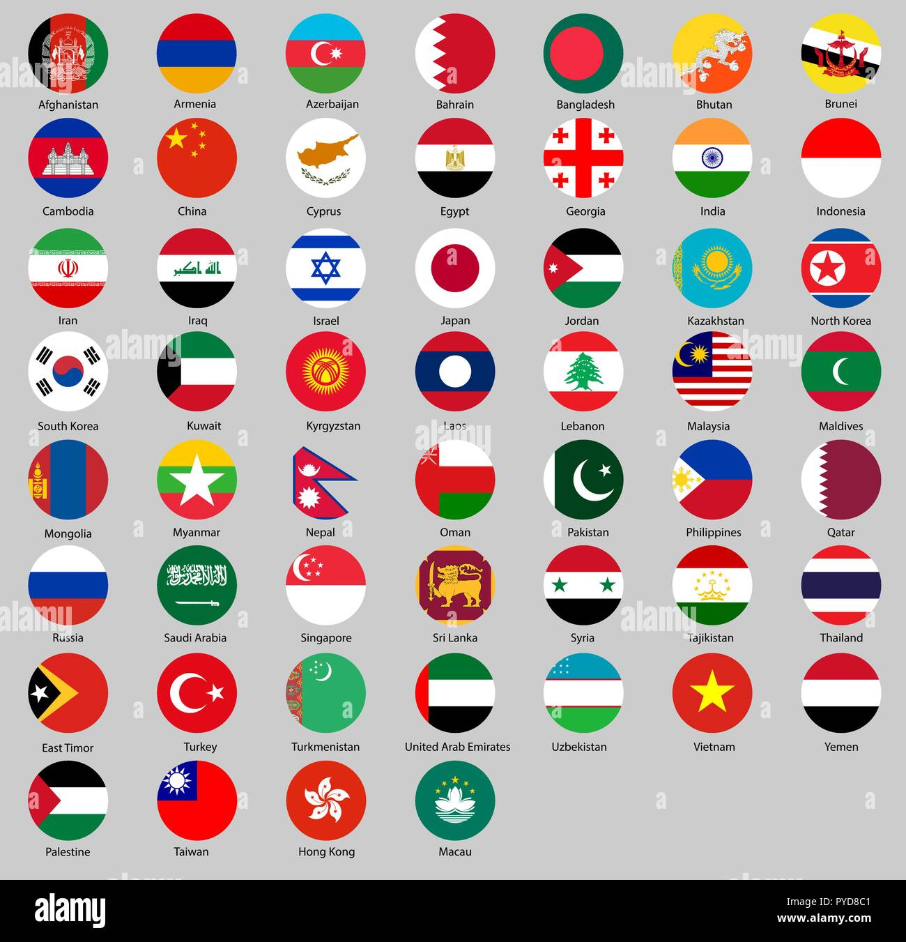 Vector illustration of different countries flags set. All Round flags Asia - Stock Vector