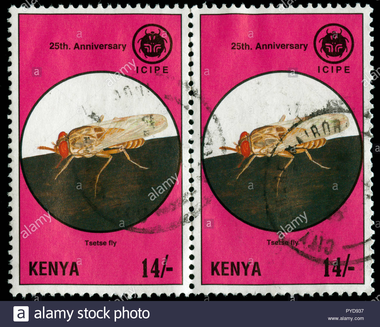 Postmarked stamps from Kenya in the  25 Years ICIPE series issued in 1995 Stock Photo