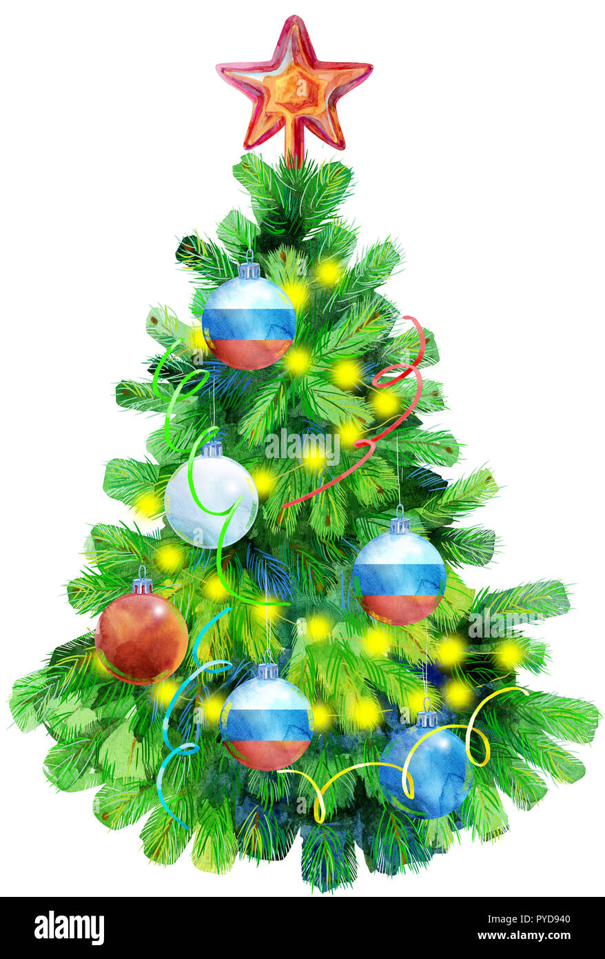 Watercolor illustration: Christmas tree decorated with balls ...