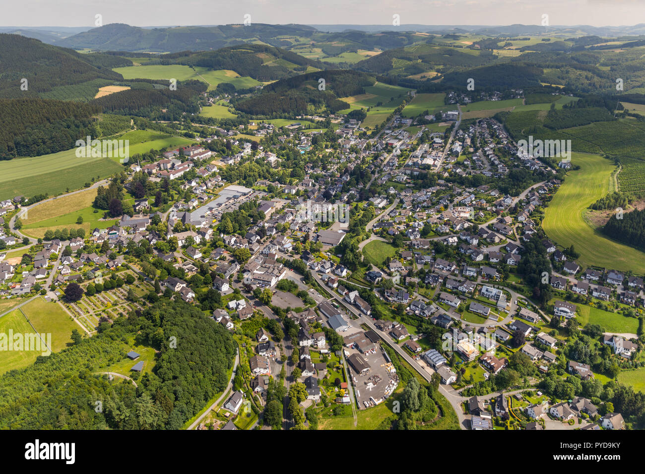 Aerial view, overview of Eslohe seen from the west, Eslohe, Sauerland, North Rhine-Westphalia, Germany, DEU, Europe, birds-eyes view, aerial view, aer - Stock Image