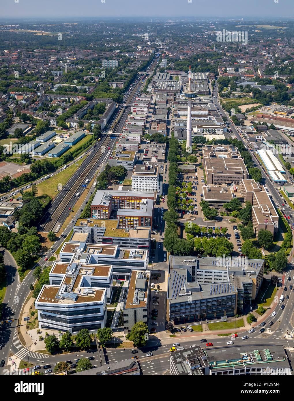 Aerial view, Europa Center Essen, office building, WAZ editorial offices near ETEC Essen, Ruhr Area, North Rhine-Westphalia, Germany, DEU, Europe, bir - Stock Image