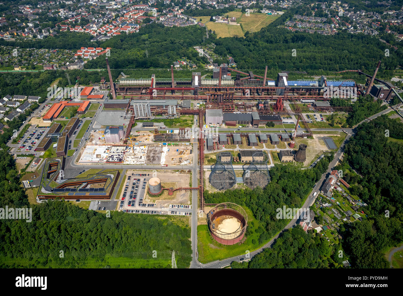 Aerial view, RAG Foundation new building at the coking plant Zollverein Essen, RAG AG, World Heritage Site, Ruhr Area, North Rhine-Westphalia, Germany - Stock Image
