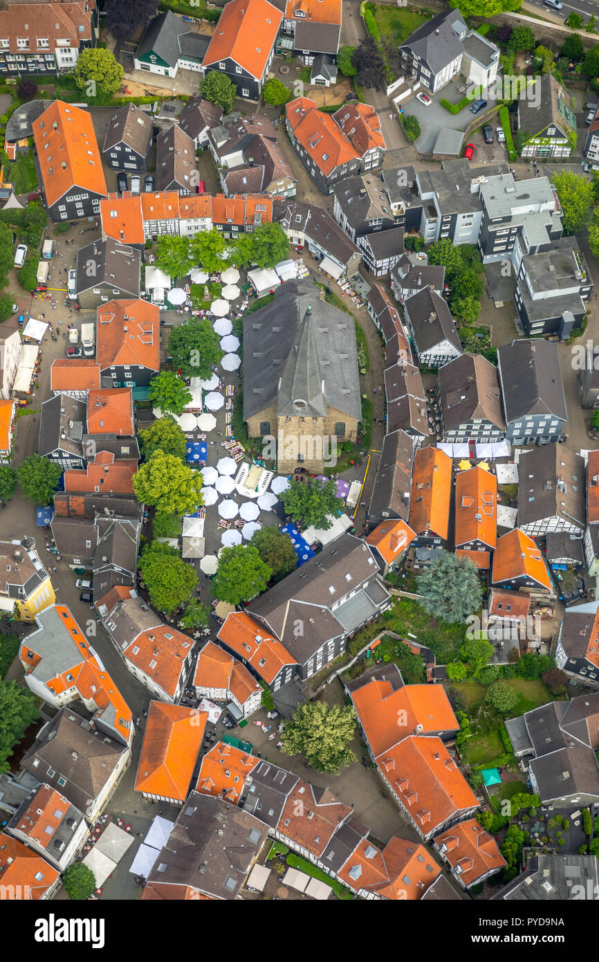Hattingen, church square, St. Georg church, Emschestraße, historic old town, Hattingen-Mitte, center, old village, Hattingen, Ruhr area, North Rhine-W - Stock Image