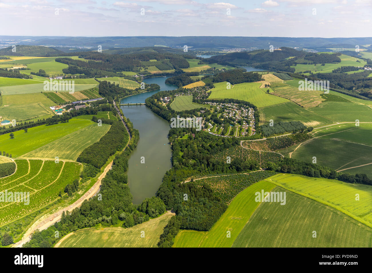 Aerial view, KNAUS Camping Park Hennesee, southern Hennesee, Meschede, Sauerland, North Rhine-Westphalia, Germany, DEU, Europe, birds-eyes view, aeria - Stock Image