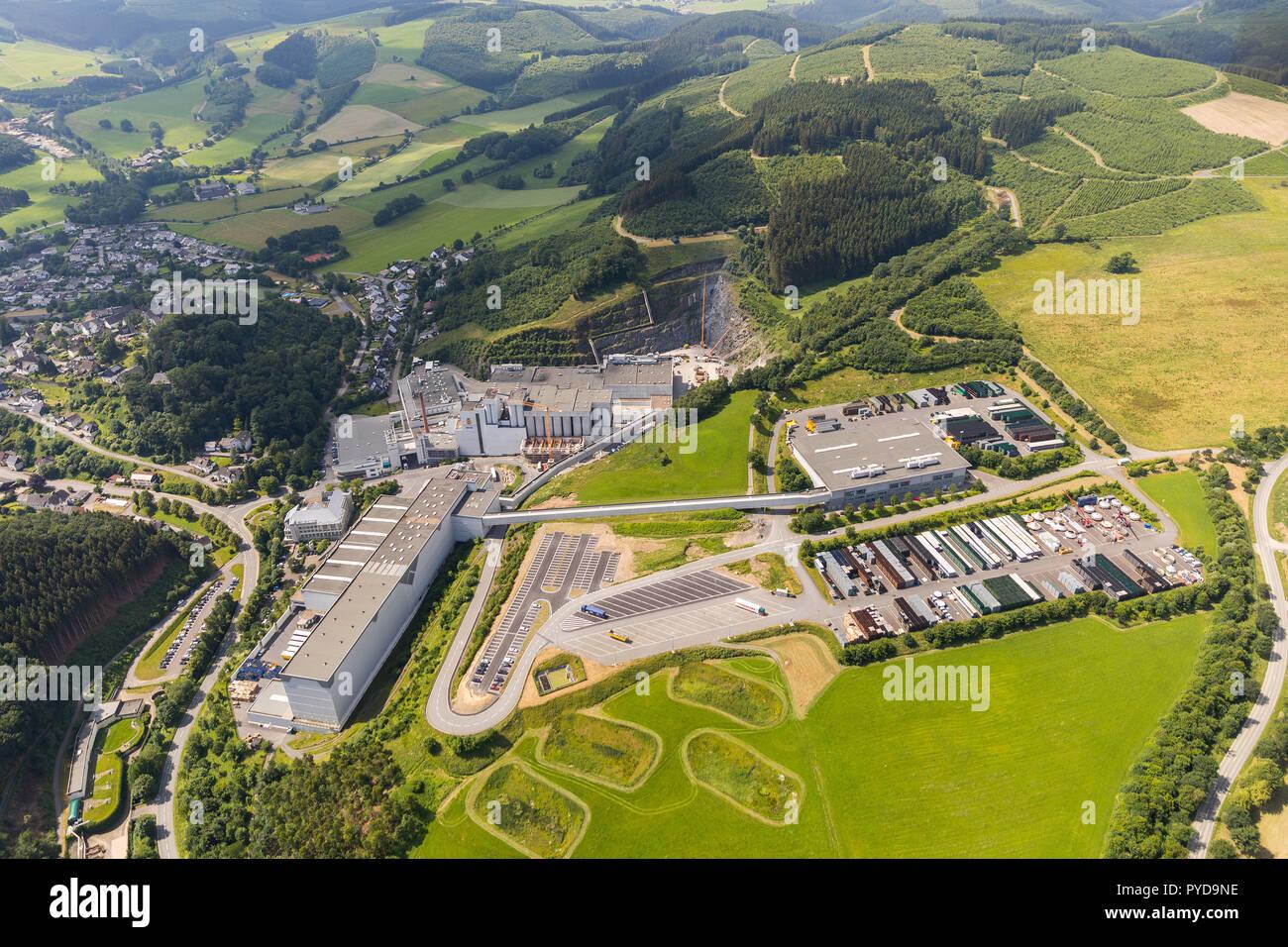 Aerial view, construction brewery C. & A. VELTINS GmbH & Co. KG, Grevenstein, Meschede, Sauerland, North Rhine-Westphalia, Germany, DEU, Europe, birds - Stock Image